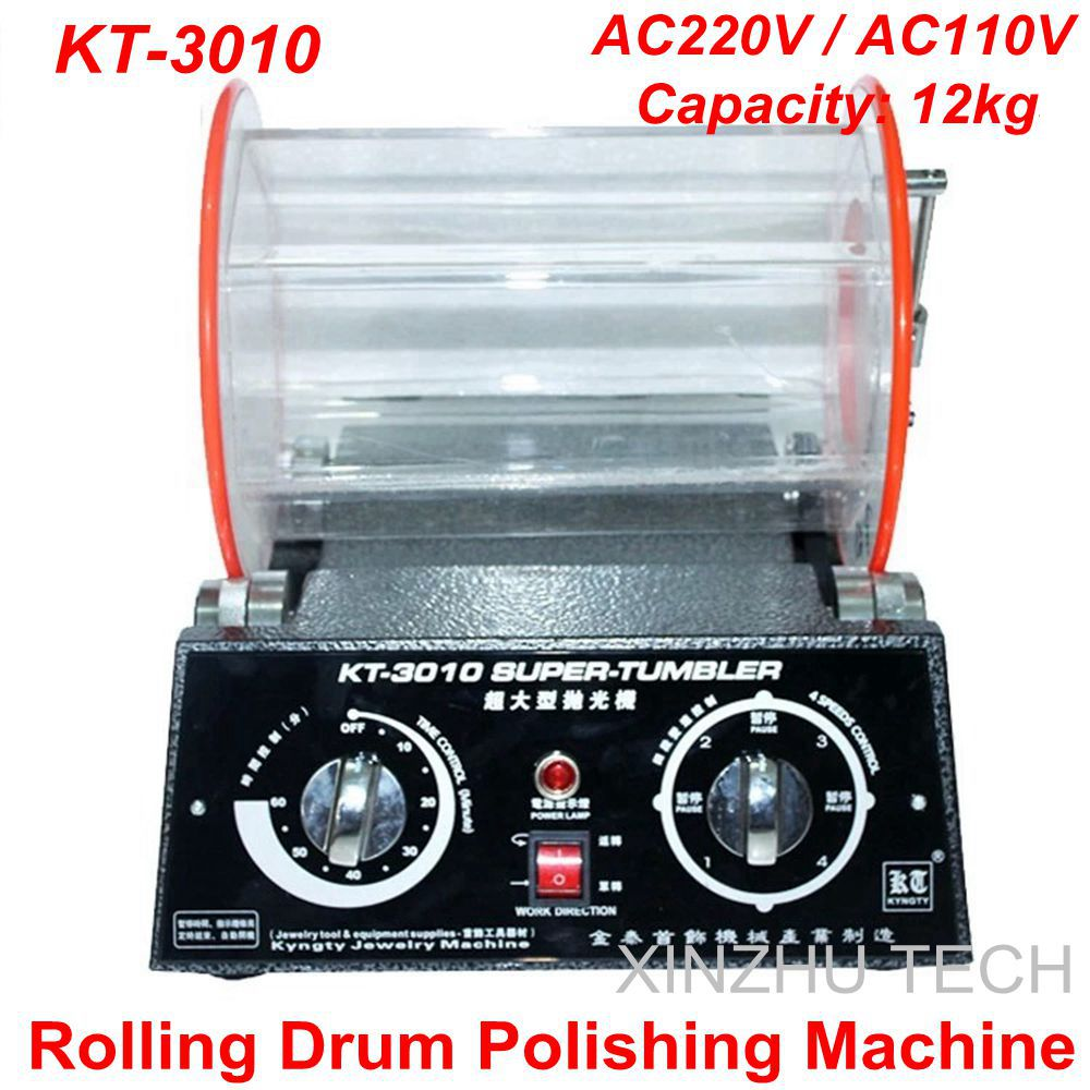 KT-3010 Rolling Drum Polishing Machine Jewelry Vibratory Tumbler Barrel Rotary Tumbling Machine Jewelry Polisher Capacity 12kgs brand new magnetic tumbler 130mm jewelry polisher