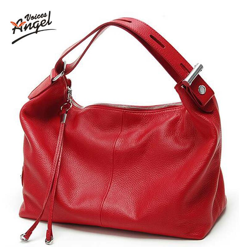 Angel Voices Fashion 100% Real Genuine Leather OL Style Women Handbag Tote Bag L