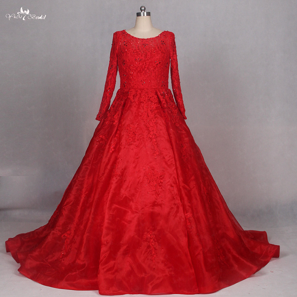 Lz184 Red Wedding Dress Long Sleeve Muslim Ball Gown Crystal Dresses In From Weddings Events On Aliexpress