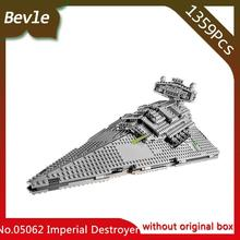 Bevle Store LEPIN 05062 1359Pcs Star Wars Series Imperial interstellar destroyer Model Building Blocks For Children Toys 75055