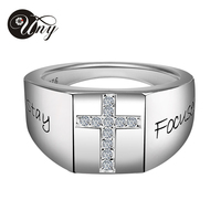 UNY Men S Cross Personalized Engrave 925 Sterling Silver Salvation Birthstone Ring Anniversary Memorial Sentimental Gift