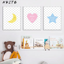 Baby Nursery Muur Posters Canvas Print Cartoon Moon Star Schilderen Nordic Kids Decoratie Foto 'S Kinderen Woonkamer Decor(China)