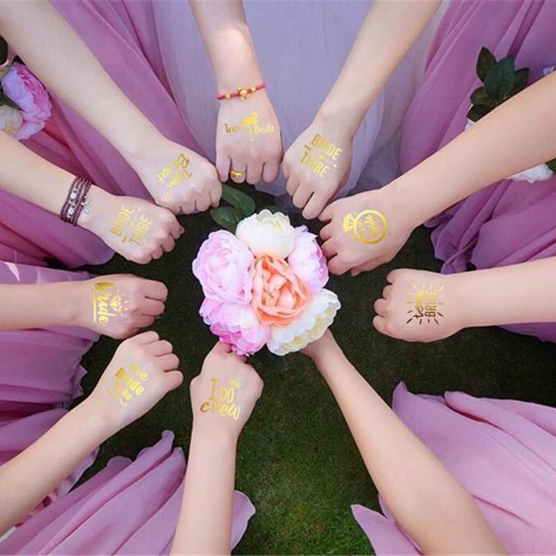 1 Pcs פלאש הכלה שבט זמני קעקוע מדבקת מסיבת הרווקים שושבינה מסיבת חתונת אמנות גוף גליטר קעקוע מדבקות