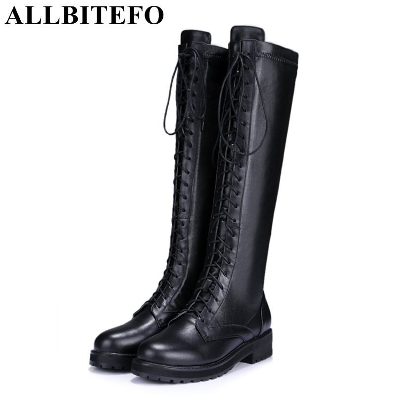 ALLBITEFO 2017 new winter genuine leather+Stretch material thick heel platform martin boots medium heel winter boots women boots top selling 2017 winter new stretch