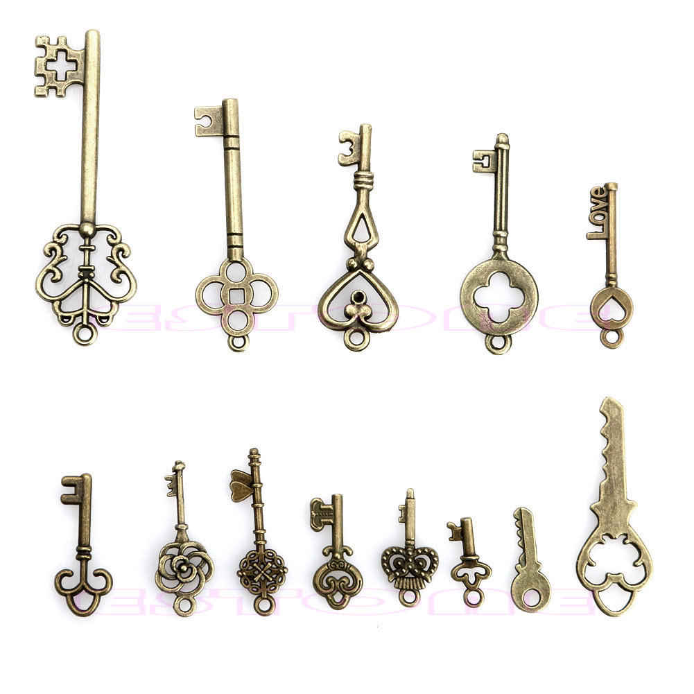 Lote antigo vintage olhar bronze tom jóias 13 mix chaves esqueleto pingentes