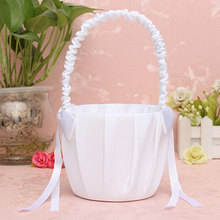 Wedding Ceremony Ring Pillow Flower Basket Romantic Satin Bowknot Storage for Girl Party Supplies