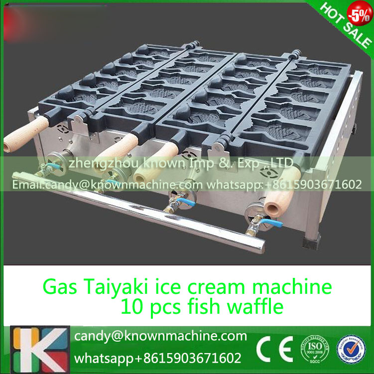 Gas type 10 pcs open mouth Taiyaki grill Ice cream Taiyaki maker