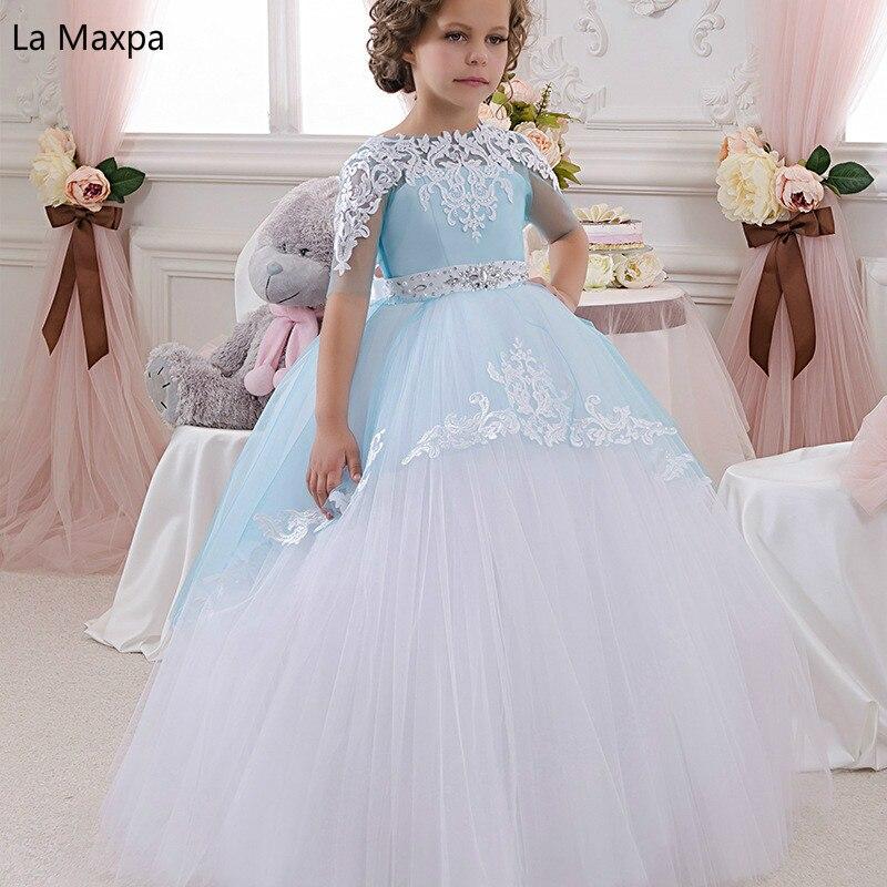 Girls Dress Lace Handmade Princess Dress Flower Tutu Light Bule Bowknot Long Dress Host Show Birthday Party Children Dress цена 2017