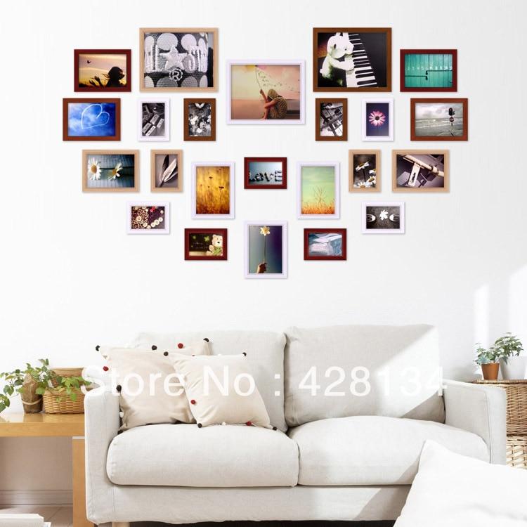 Heart shape Solid wood photo wall (PW007), 23 frames set, multiple ...