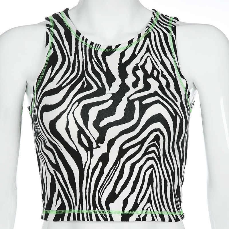 BOOFEENAA زيبرا الحيوان طباعة مثير تانك القمم النساء الشارع الشهير الأزياء لطيف يا الرقبة أكمام المحاصيل أعلى T قميص 2019 C77-G16