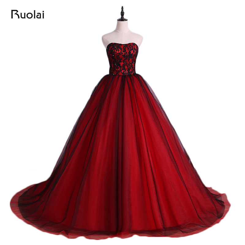 Red and Black Evening Dresses Saudi Style Strapless Evening Gowns Sexy Illusion Lace Ball Gown Puffy Wedding Party Dresses FE07