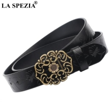 LA SPEZIA Womens Smooth Buckle Belts Real Leather Embossed Belt Female Vintage Black Designer Genuine Cow Waist