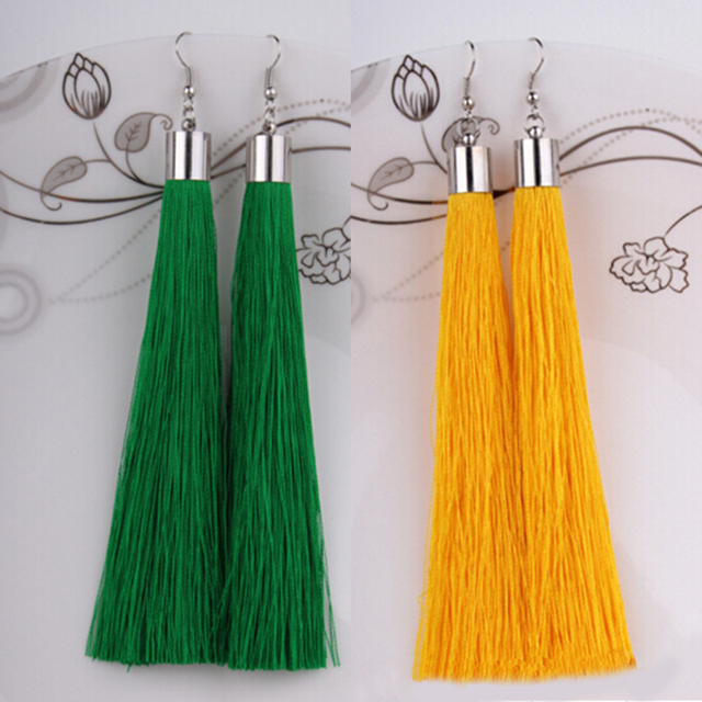 18 Colors Bohemia Long Tassels Earrings For Women Fashion Statement Dangle Earrings Ethnic Jewelry Brincos Pendientes