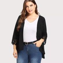 2018 autumn new large size womens lace stitching nine-point sleeve loose shirt cardigan coat