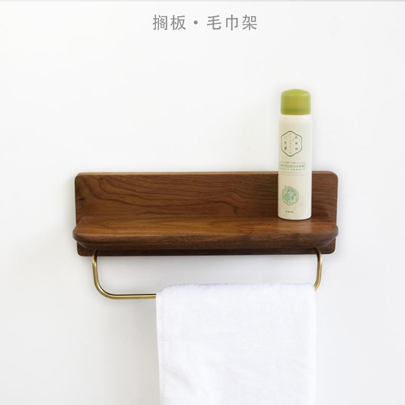 Wood Storage Rack Bathroom Shelf 30cm Black Walnut And Brass Single Towel Ring Bathroom Accessories Wall Mounted