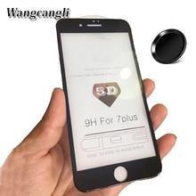 Wangcangli 5D tempered glass for iphone 7 full coverage screen 6 6s 6plus 7plus 8 8plus X 9H hard edge film