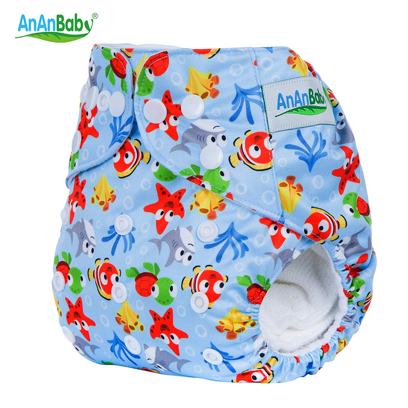 Ananbaby Brand Washable Baby Nappies Adjustable Cloth Diaper Waterproof Cartoon Reusable New Baby Diaper Couche Lavable HA007