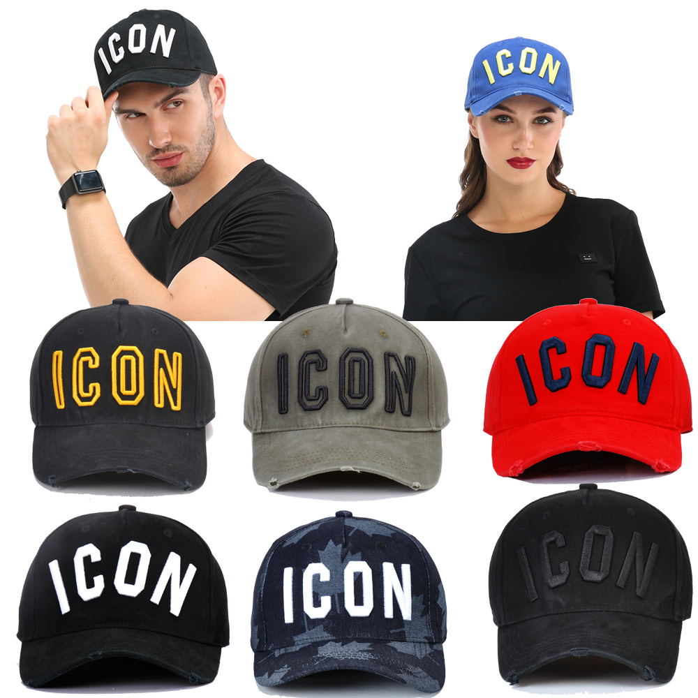 DSQICOND2 Brand 2019 Fashion ICON Letter Cotton Mens Baseball Cap Women Snapback Hat DSQ Dad Bone Trucker