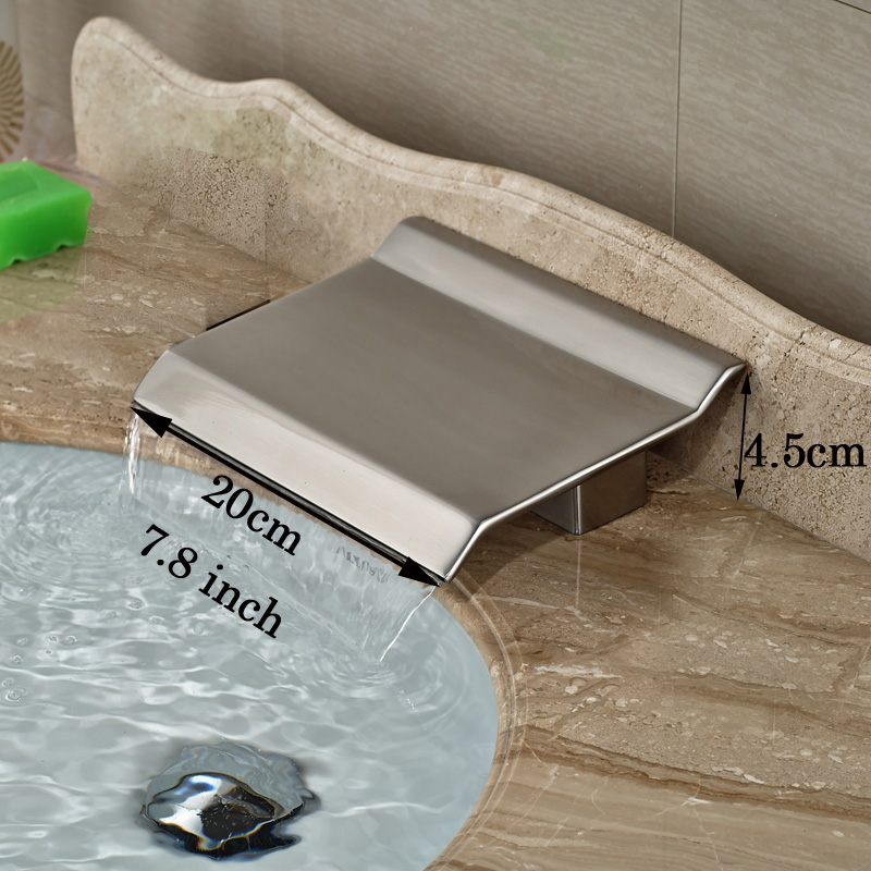 Newly Brushed Nickel Bath Faucet Waterfall Tub Spout Deck Mount Bathroom Faucet Replace Parts Accessory wholesale and retail brushed nickel waterfall spout bath tub faucet deck mounted three handles bathroom tub faucet set