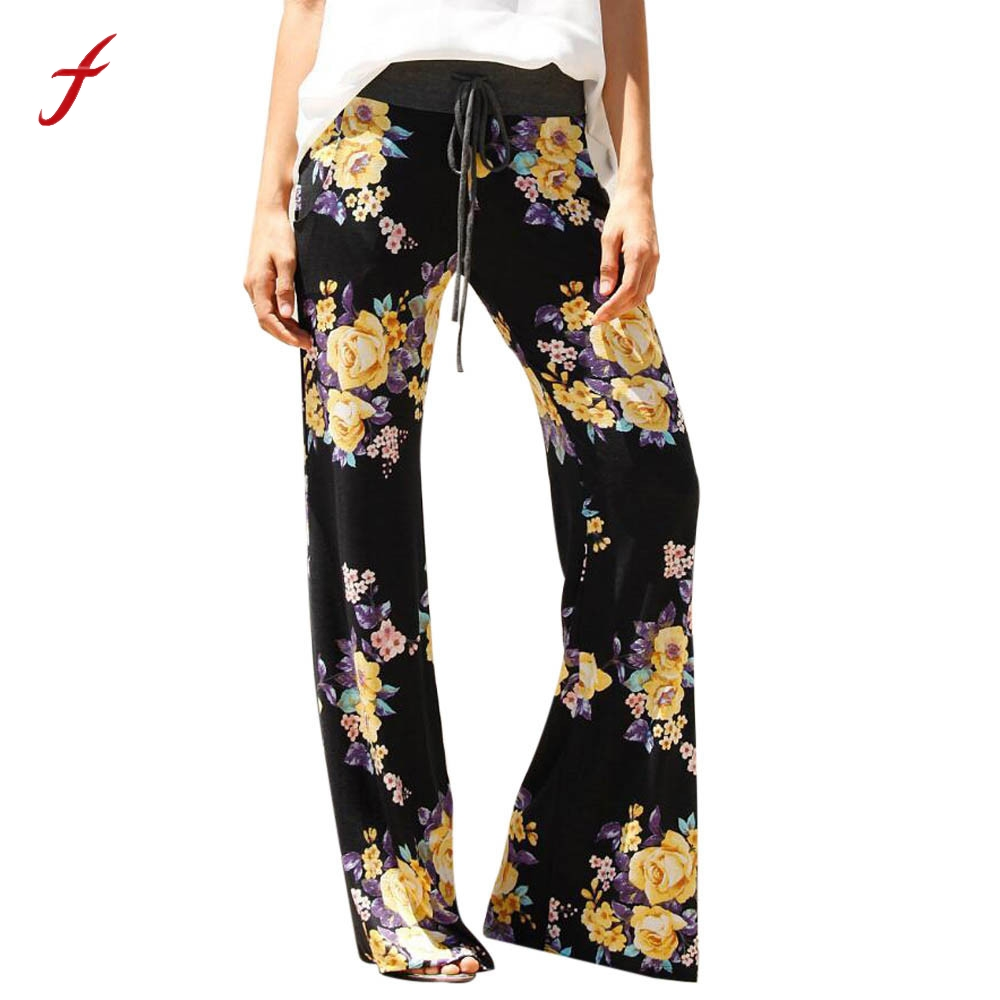 women floral prints drawstring wide leg pants leggings harem pants women pants pantalon femme. Black Bedroom Furniture Sets. Home Design Ideas