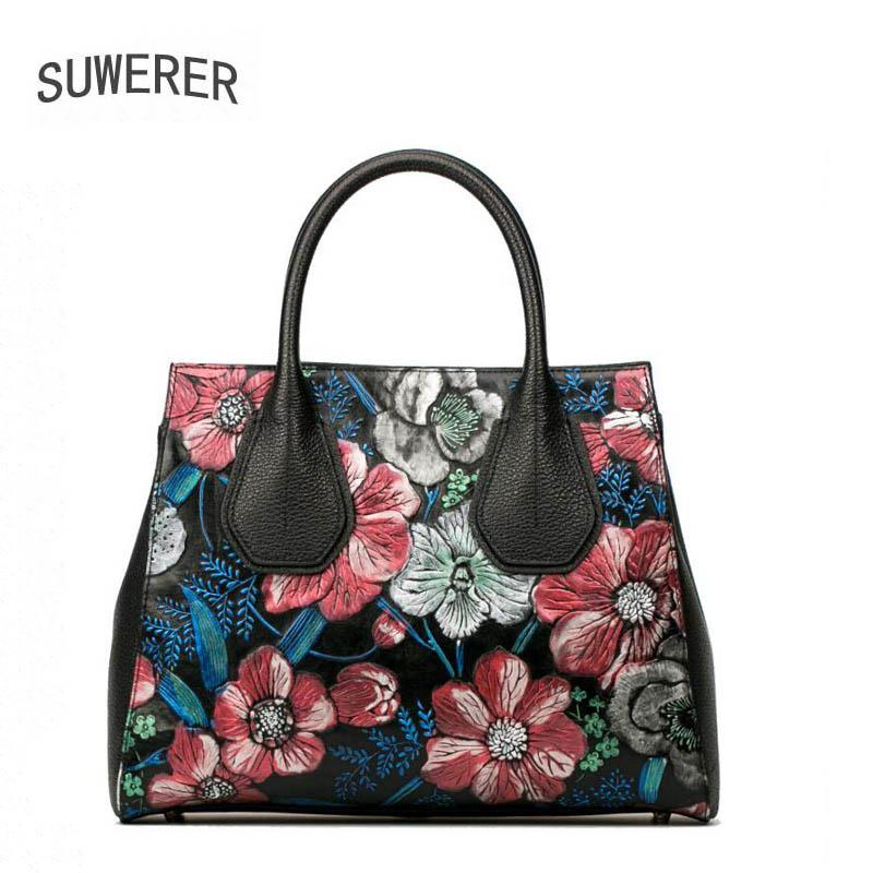Genuine Leather handbag  2017 new luxury hand-painted flower handbag Fashion Shoulder Messenger Bag Women's handbags Boston pack