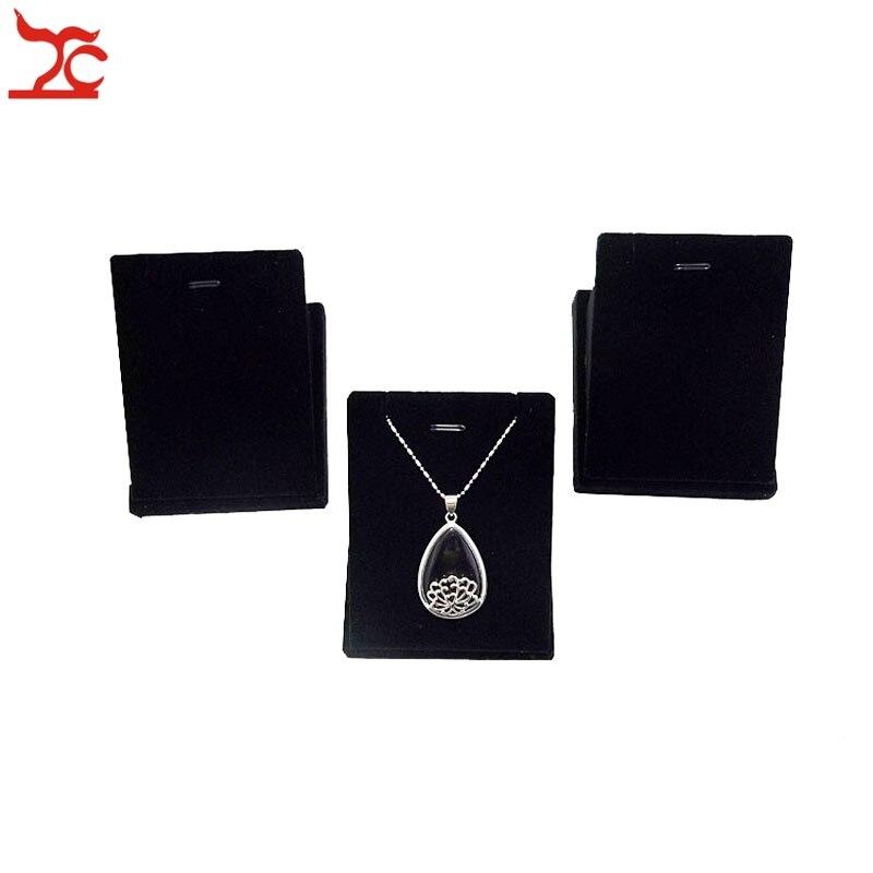 Promotion 3pcs/lot Black Velvet Jewelry Display Prop Pendant Necklace Holder Stand Shelf Rack Wooden Oganizer Showcase 7*8cm