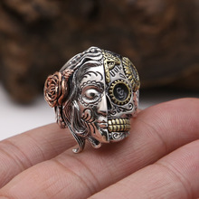 Factory wholesale S925 Sterling Silver Vintage Thai silver jewelry double face Skull Ring punk fashion personality