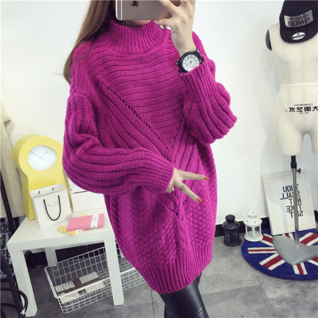 2016 new hot sale women's spring autumn long sleeve turtleneck twist hollow knit sweaters woman loose thick pullovers coats