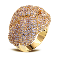 Gold Rings Real Gold Plated With Cubic Zirconia Rings Gold Filled Ring Big Ring For Women