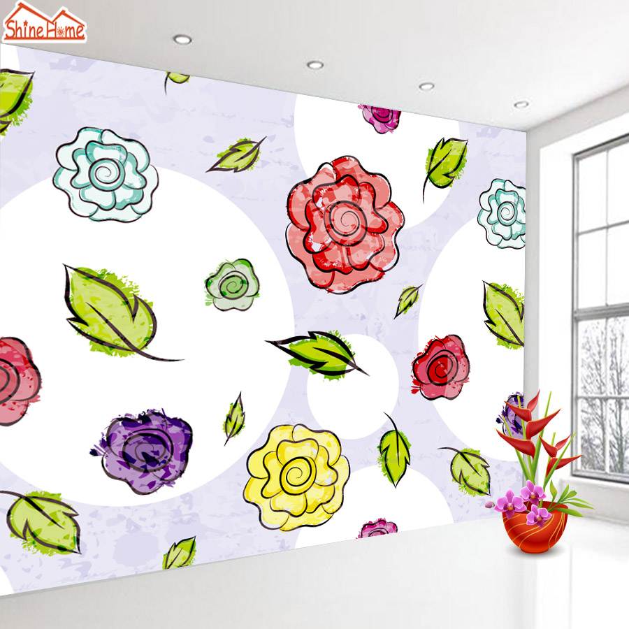 ShineHome-Rose Bloom Floral Wallpaper for 3d Rooms Walls Wallpapers for 3 d  Living Room Wall Paper Murals Wallpaper Mural Roll shinehome red rose bloom golden golden wallpaper for 3d rooms walls wallpapers for 3 d living room wall paper murals mural roll