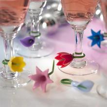 6 шт. цветы вина метка на чашку силиконовые этикетки вечерние, специальные стеклянные чашки распознаватель инструменты для бокала вина(случайный