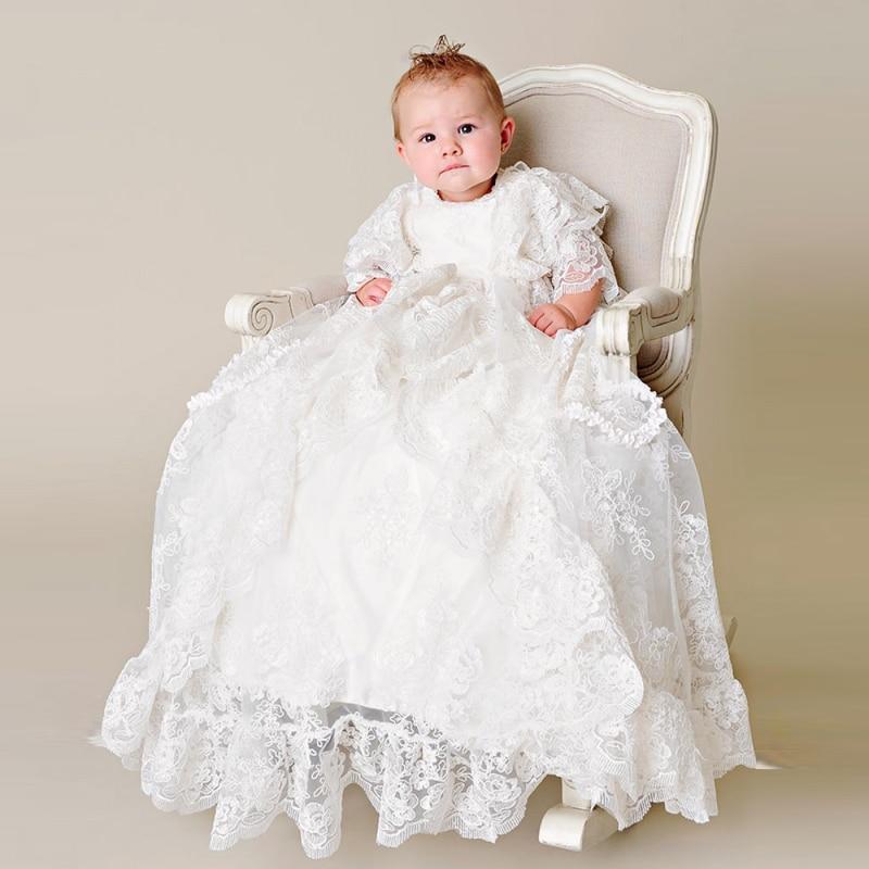 Robe de baptême en soie à bouton arrière style heirmétier trois quarts dentelle à volants broderie bébé garçon robes de baptême nouveau