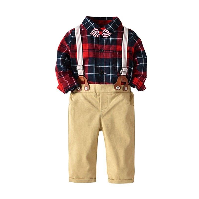 Newborn baby Infant Boys clothes sets long sleeve plaid shirt romper+pants+straps Party 3PCS Toddler suits new