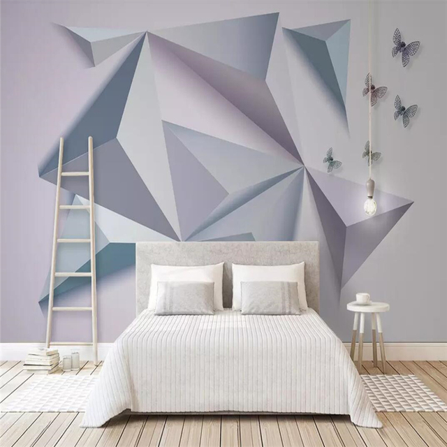 Us 12 99 Simple 3d Butterfly And Triangle Stereo Combination Of Modern Tv Background Wall Painting In Fabric Textile Wallcoverings From Home