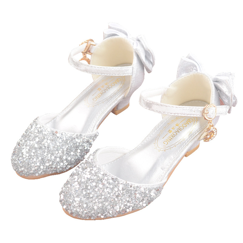 2019 New Princess Girls Shoes Sandals For Kids Glitter Bowtie Low Heel Children Shoes Girls Party Enfant Meisjes Schoenen