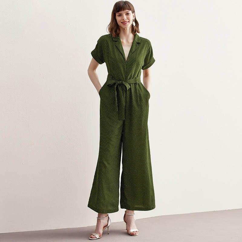2019 Summer New Women'S Jumpsuit Women'S Short Sleeve Fashion Polka Dot High Waist Strap Straight Slim Pants Wide Leg Pants
