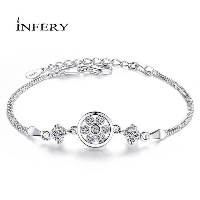 3f63a5bcce Hot Sale 2019 Men & Women Fashion Crystal Round Bracelets Couple 100% Sterling  Silver 925 Bracelet Jewelry Gift 2Y394