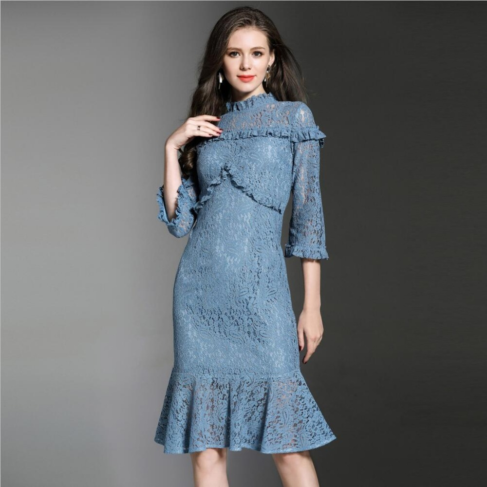 Runway Dresses 2018 Women Elegant Lace Dress Spring Long Sleeve ...