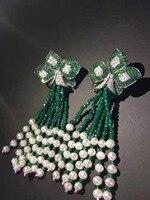 Зеленый цвет натуральный пресноводный жемчуг кисточки цветок серьги стержни длинной кисточкой серьги Модные женские украшения 925 серебро