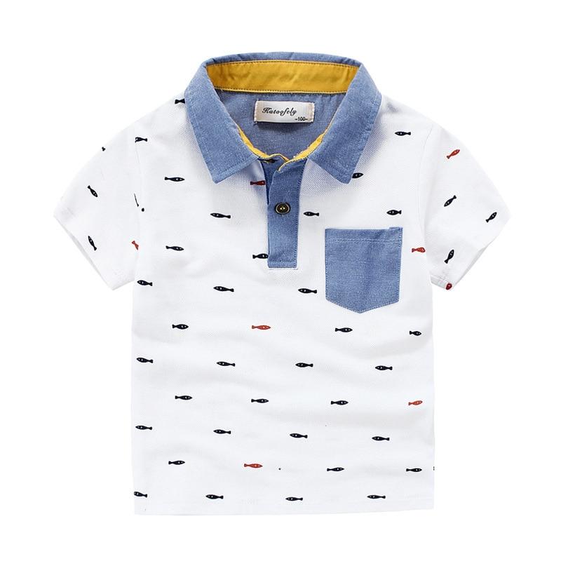 Summer Children's Short Sleeved Shirt Boy Full Cotton Polo Shirt Coat Cartoon Kids Clothes Costume Roupas Infantis Menino T