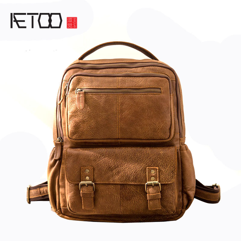 AETOO CRetro shoulder bag men's leather large-capacity backpack leather personality college bag men flb12084 hamburg s new fashion backpack shoulder bag college wind backpack schoolbag shoulder bag personality