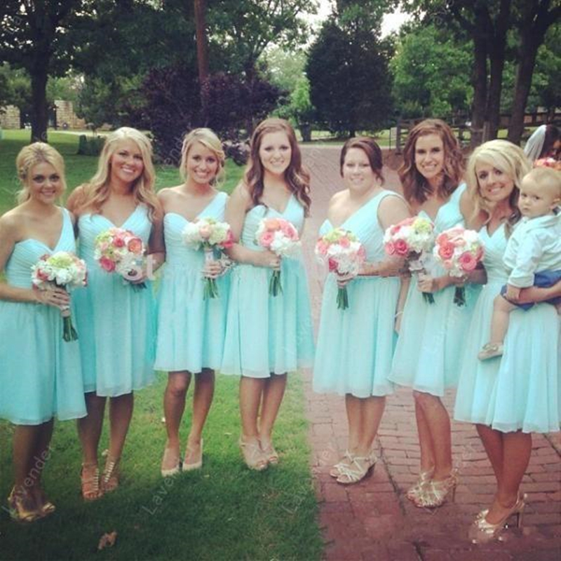Mint Green Chiffon Knee Length Short Bridesmaid Dresses Cheap One ...