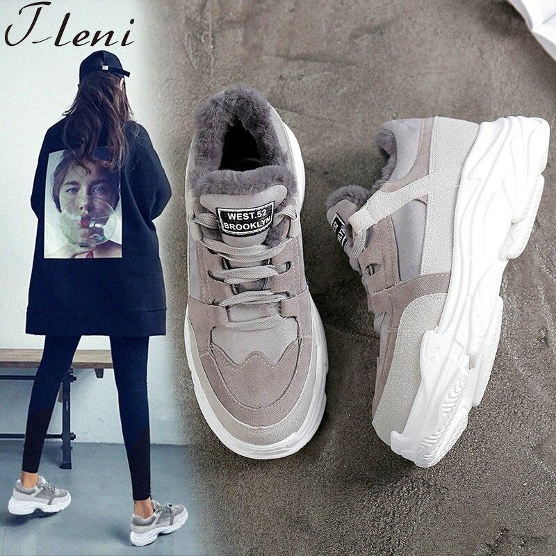 Tleni Sneakers Women Winter Running Shoes For Women Cotton Plush Mixed Colors Sport Shoes Woman 2018 Winter Shoes Women ZK-01