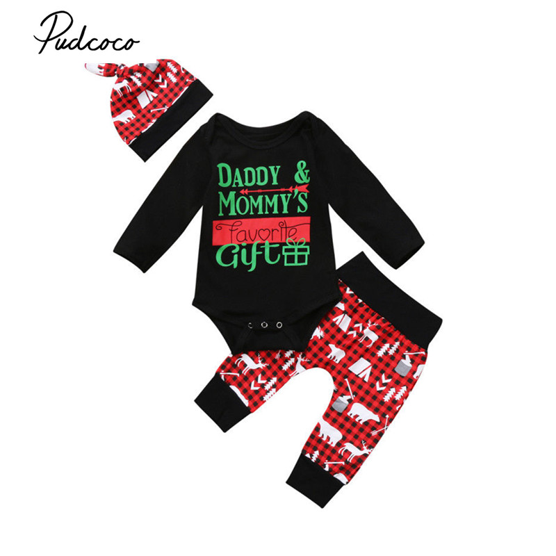 2017 Brand New Christma Newborn Toddler Infant Baby Boys Girl Long Sleeve Tops Romper Pants Hat Headband 4Pcs Santa Sets Outfits 2017 brand new 3pcs set newborn toddler infant baby girl boy clothes romper long sleeve shirt tops pants hat santa candy outfits