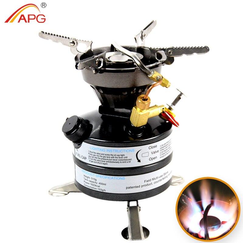 Miniestufas de gasolina de camping de combustible líquido APG y quemadores de queroseno de estufa al aire libre portátiles