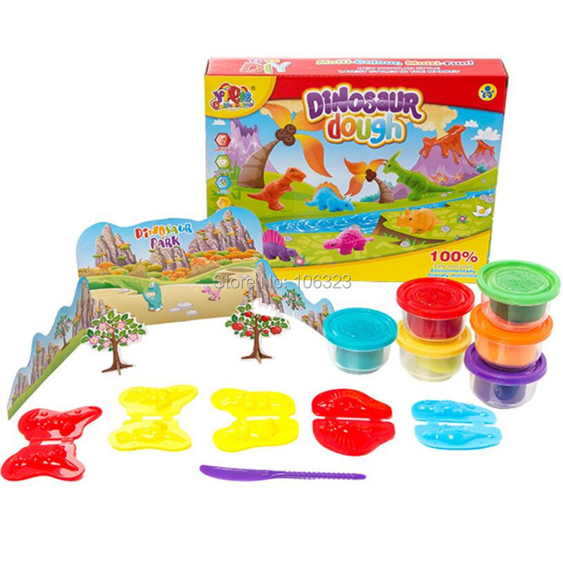 Dinosaurs Colours Dough, 3D DIY Modeling Clay Play Set, Dinosaur Mold Tool Kit,Kid Kindergarten Animal Handwork Educational Toys ...