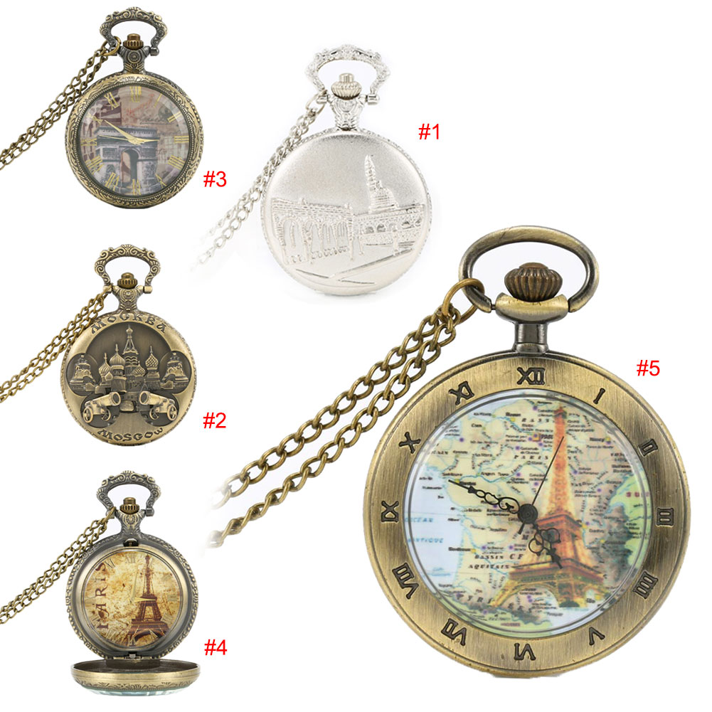Antique Vintage Bronze Copper Building Quartz Pocket Watch Roman Number Necklace Chain Birthday Gift LXH bronze quartz pocket watch old antique superman design high quality with necklace chain for gift item free shipping