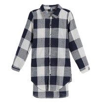 Maternity Shirts Autumn Women Blouses Dress Check Casual Loose Tunic Shirt  Pregnant Pleated Plaid Plus Size