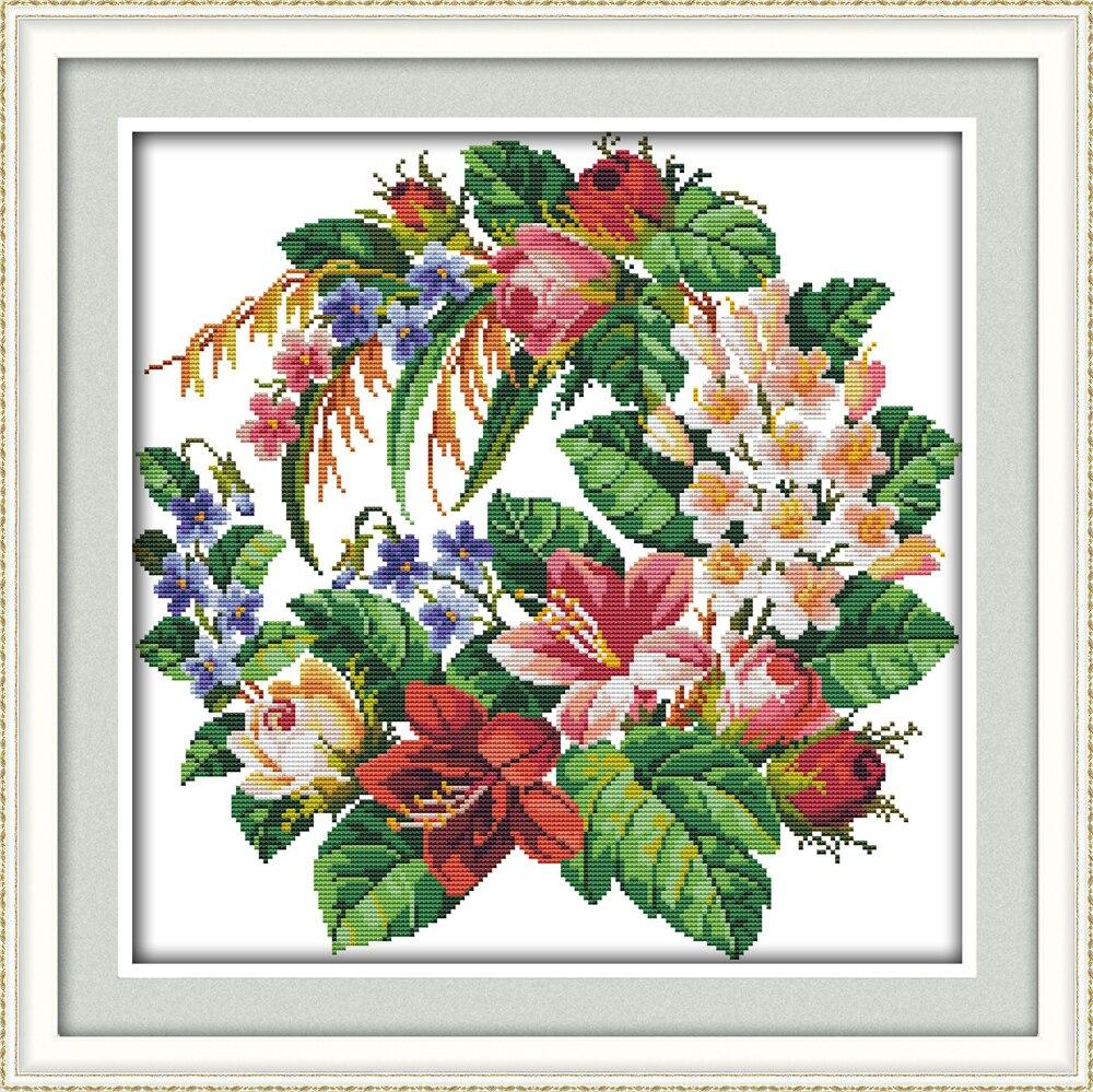 Věnec Dmc Výšivka Floss Nástěnná výzdoba Vyšívací vzory Kříž Stitch Květiny Vyšívací souprava 11CT Printed Cross Stitch