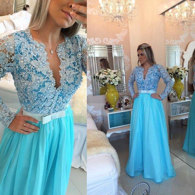 Vestido De Festa Azul Elegante Vestido de Baile Lace Tull A Linha de Pérolas Corpete Com Decote Em V Vestido de Noite Formal Do Partido Vestido PD191